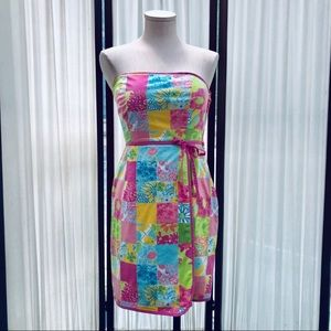 Lilly Pulitzer Rainbow Patch Strapless Dress
